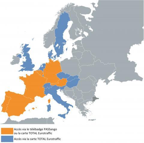 Franchissez 17 pays d'Europe avec la solution de péage de Total